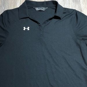 WOMEN'S LOOSE FIT BLACK V NECK POLO SIZE LARGE